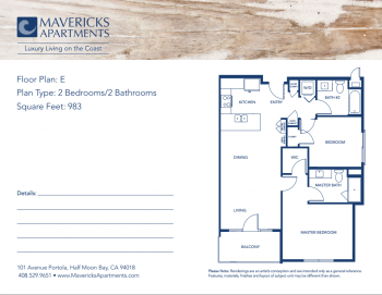 Plan E | Type 2BR/2BA | Sq Ft 983