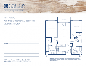 Plan C | Type 2BR/2BA | Sq Ft 1,067