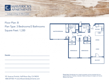 Plan B | Type 3BR/2BA | Sq Ft 1,330
